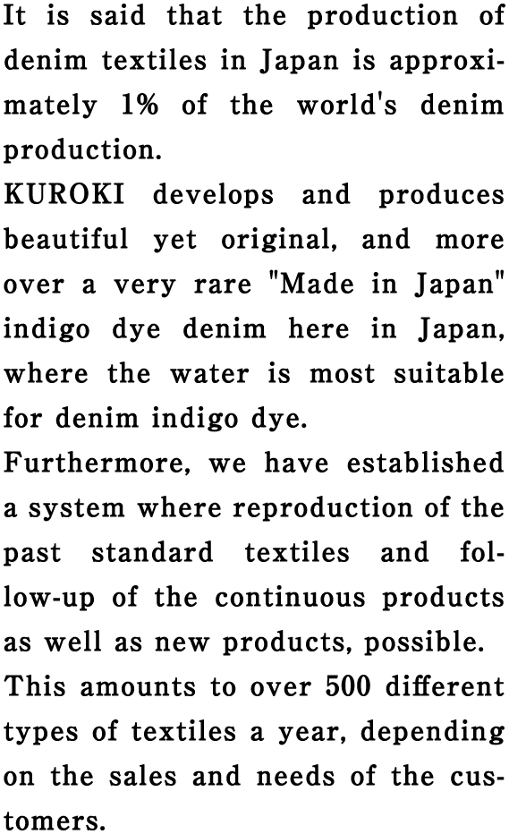It is said that the production of denim textiles in Japan is approximately 1% of the world's denim production.